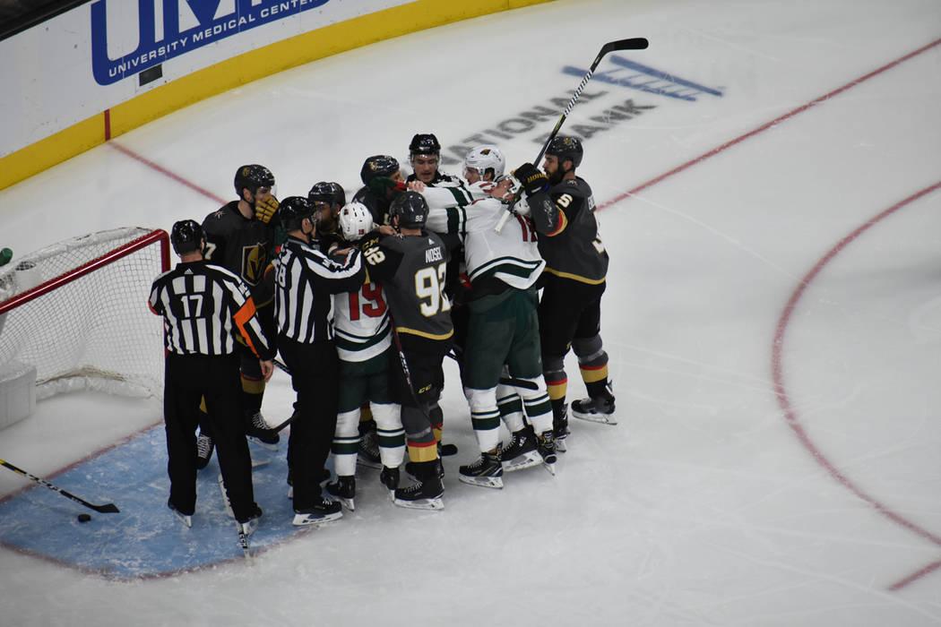 Vegas Golden Knights y Minnesota Wild se enfrentaron en un partido de la NHL que fue parejo. Lunes 21 de enero de 2019 en T-Mobile Arena. Foto Anthony Avellaneda / El Tiempo.