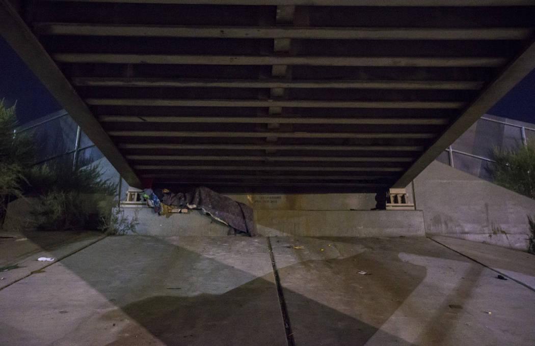 Una persona sin hogar duerme debajo de un paso subterráneo a lo largo de la avenida Owens mientras que el Censo anual de personas sin hogar del sur de Nevada se lleva a cabo en Las Vegas el marte ...