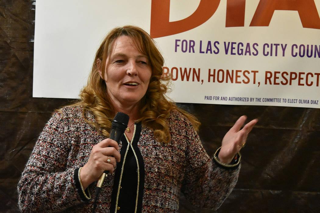La presidente de la Comisión del Condado Clark, Marilyn Kirkpatrick, durante el inicio oficial de la campaña de Olivia Díaz rumbo al Concejo de Las Vegas por el Distrito 3. Sería la primera mu ...
