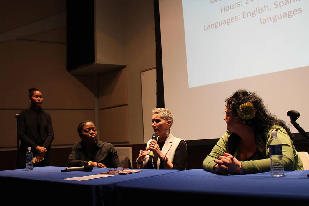 Se realizó un panel para educar sobre el tráfico de personas con representantes de organizaciones y gobierno. Jueves 31 de enero de 2019 en CSN campus Charleston. Foto Cristian De la Rosa / El T ...