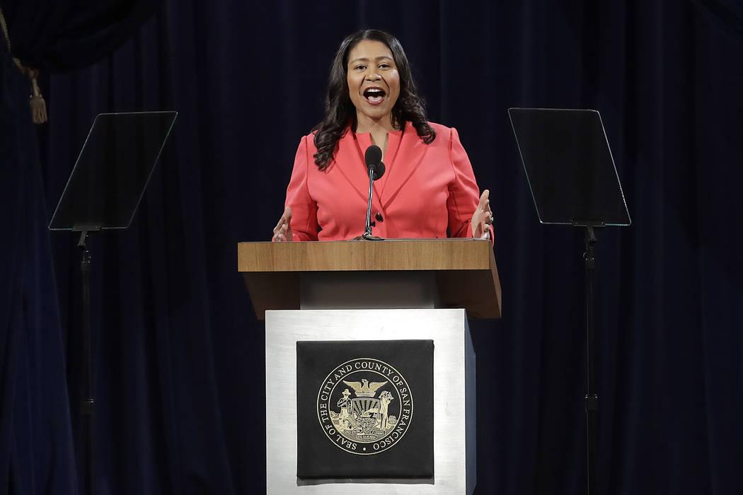 El alcalde de San Francisco, London Breed, pronuncia el discurso del estado de la ciudad en San Francisco, el miércoles 30 de enero de 2019. Breed dio su primer discurso del estado de la ciudad e ...