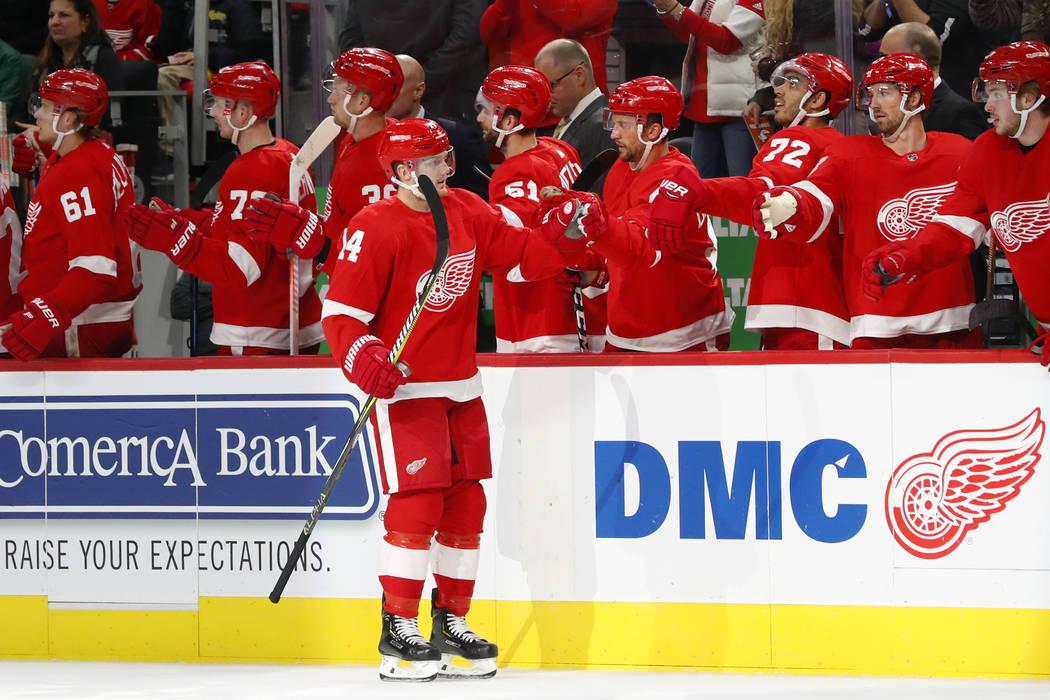 El ala derecha de los Detroit Red Wings, Gustav Nyquist (14), celebra su gol contra los Golden Knights de Las Vegas en el primer período de un juego de hockey de la NHL el jueves 7 de febrero de ...