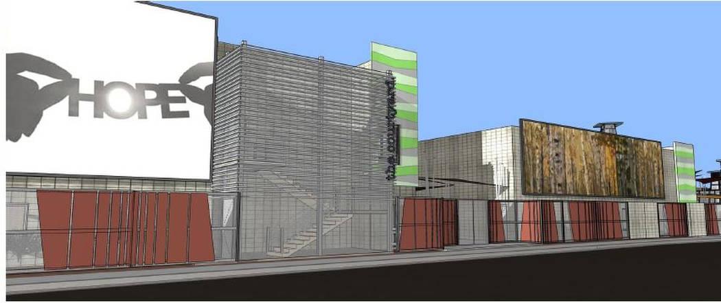 Los diseños esquemáticos recientemente lanzados muestran una vista preliminar al Centro de Recursos para Personas sin Hogar de Courtyard by LGA Architects. (Ciudad de Las Vegas)