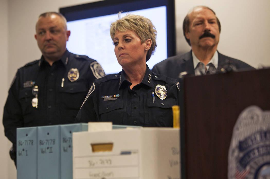 La jefa del Departamento de Policía de North Las Vegas, Pamela Ojeda, en una conferencia de prensa para discutir nuevos descubrimientos en el caso de la desaparición de Francillon Pierre, de 3 a ...