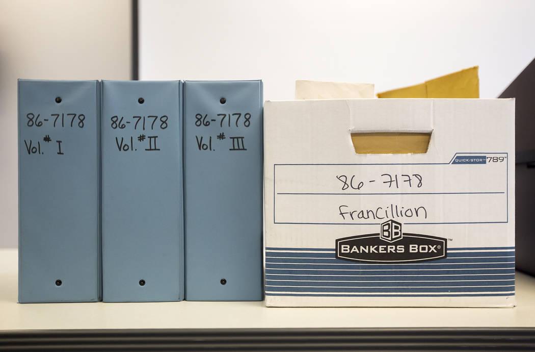Archivos del caso de Francillon Pierre, de 3 años de edad, quien desapareció en 1986, en la Oficina de Detectives de North Las Vegas en North Las Vegas, el lunes 11 de febrero de 2019. (Rachel A ...