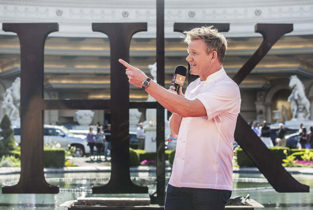 Gordon Ramsey addresses the media during a press conference to announce his restaurant Gordon Ramsay Hell's Kitchen, at Caesars Palace hotel-casino on Friday, April 28, 2017, in Las Vegas. Benjami ...