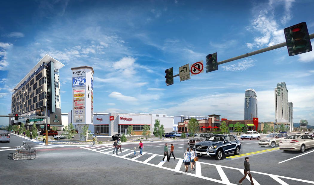 Representación del proyecto de uso mixto en construcción en Flamingo Road y Valley View Boulevard, junto a Palms fotografiado el miércoles, 27 de febrero de 2019, en Las Vegas. Bizuayehu Tesfay ...