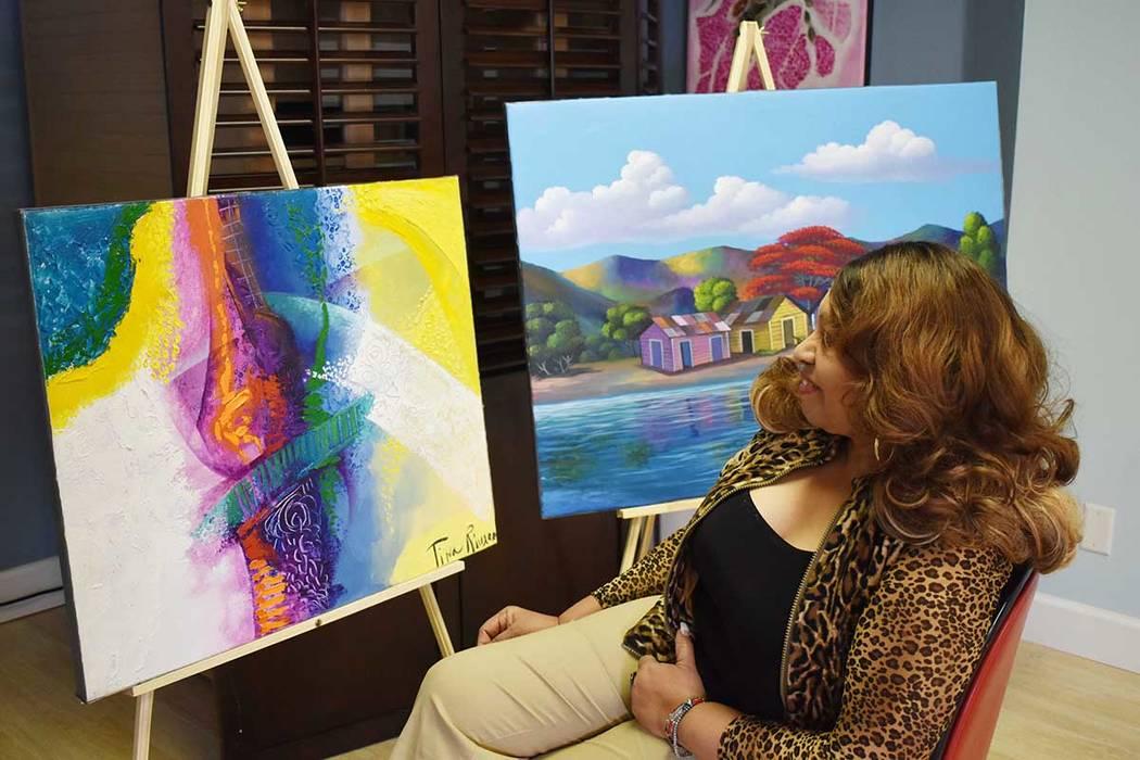 Tina Rivera organizó una muestra de pintura para celebrar la Semana Cultural Dominicana. Martes 6 de marzo de 2019 en el Instituto Internacional de Artes Escénicas de Las Vegas. Foto Frank Aleja ...