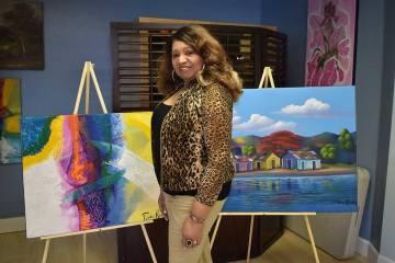 Obras de Tina Rivera en exposicion. Martes 6 de marzo de 2019 en el Instituto Internacional de Artes Escénicas de Las Vegas. Foto Frank Alejandre / El Tiempo.