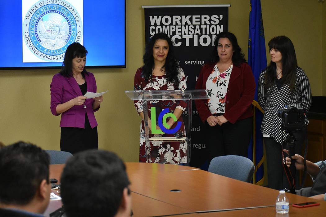 """De izquierda a derecha, Victoria Carreon, Angelia Yllas, Ana Aranda y Pilar Lyons, participantes del evento """"Evite sanciones estatales para su negocio de Worker's Comp y OSHA"""". Miércoles 6 ..."""