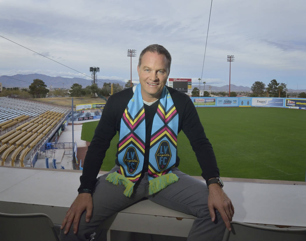 El entrenador en jefe de Las Vegas Lights FC, Eric Wynalda, se presenta en Cashman Field en 850 N. Las Vegas Blvd. en Las Vegas el miércoles 6 de marzo de 2019. (Bill Hughes / Las Vegas Review-Jo ...