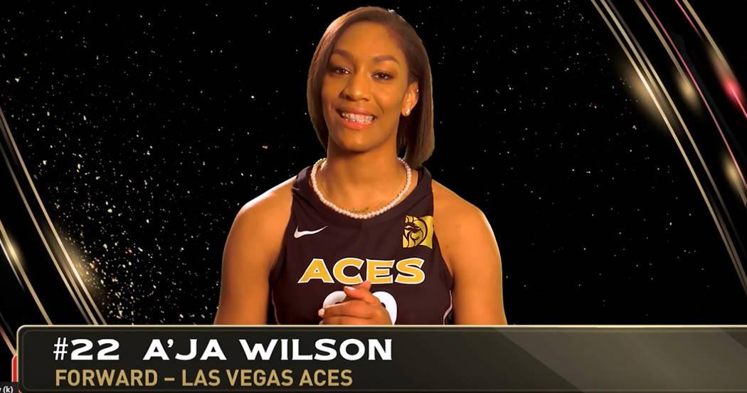 """A'ja Wilson, jugadora del equipo femenil de baloncesto """"Aces"""", en uno de los videos semanales para niños de primaria. Foto Cortesía SNHD."""