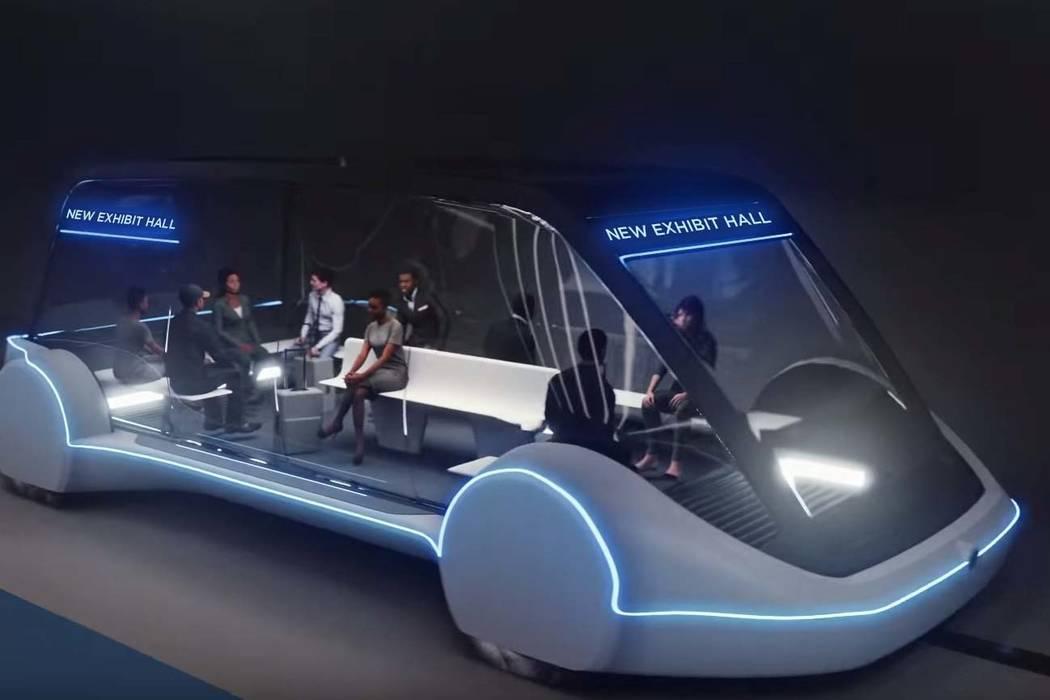 Los vehículos eléctricos autónomos de alta ocupación circularían entre salas de exhibición en el Centro de Convenciones de Las Vegas. Foto The Boring Company.