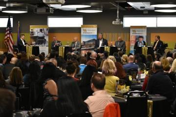 Representantes de los equipos deportivos profesionales de Las Vegas encabezaron un foro de diálogo sobre desarrollo económico. Viernes 15 de marzo de 2019 en Nevada State College. Foto Anthony A ...