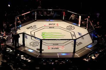 UFC Fight Night - La Arena O2. Una vista general del octágono en la Arena O2, Londres
