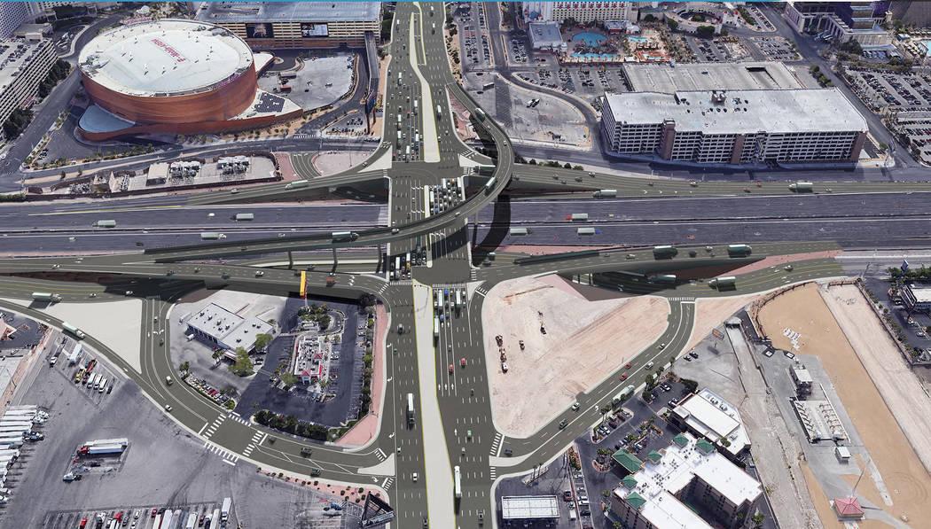 Una representación de cómo se verá el proyecto del cruce I-15/Tropicana de $200 millones una vez que se complete en 2024. (Cortesía: NDOT)