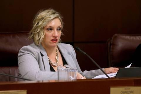 La senadora Nicole Cannizzaro, D-Las Vegas, preside durante una reunión del Comité Judicial en el edificio legislativo en Carson City el miércoles 6 de febrero de 2019. (K.M. Cannon / Las Vegas ...