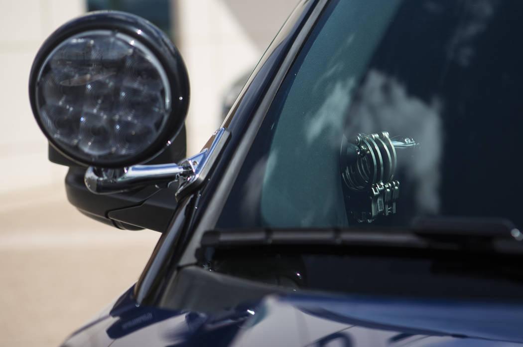 Handcuffs pictured inside a Nevada Highway Patrol sedan outside of Metropolitan Police Departme ...