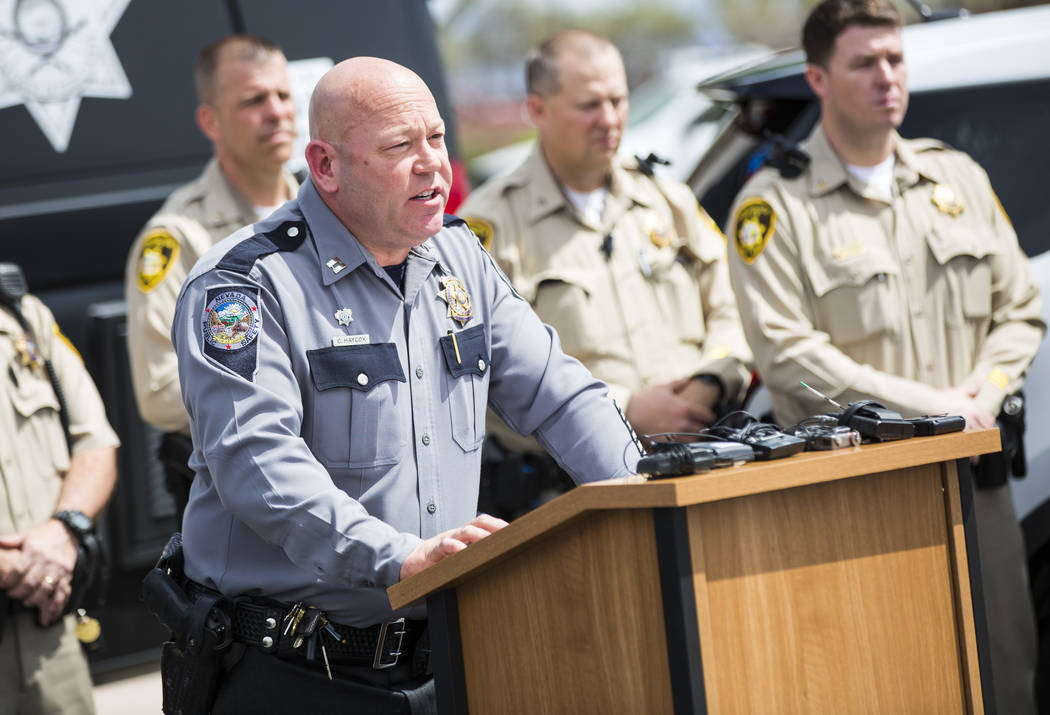Nevada Highway Patrol Capt. Charles Haycox speaks during an event marking 500 arrests by the DU ...