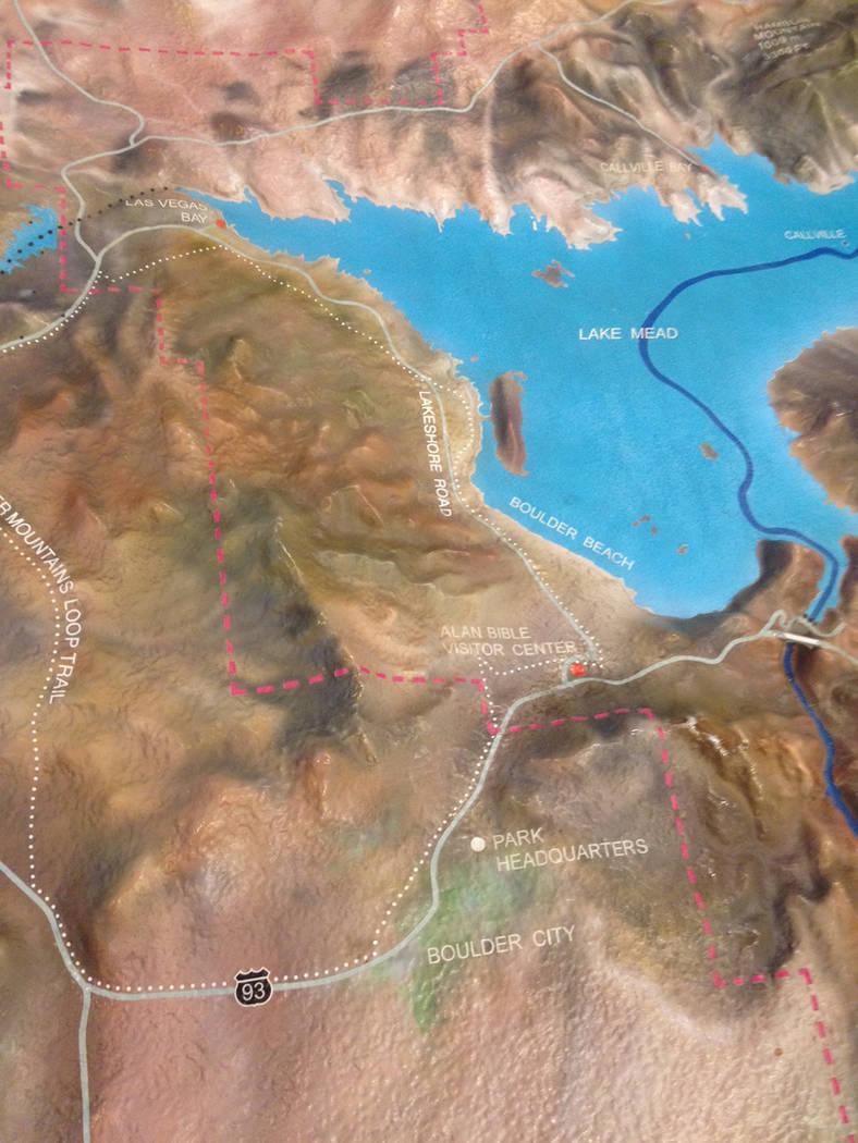 """Archivo.- Vista parcial del """"Área de Recreación Nacional Lake Mead"""", en una maqueta del C ..."""