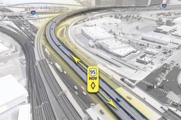 La US 95 se reducirá a dos carriles para que las cuadrillas puedan dividir los carriles hacia ...