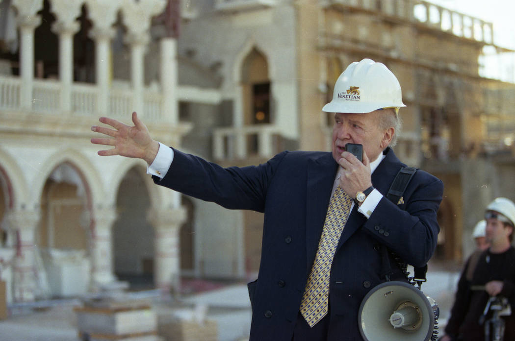 Sheldon Adelson speaks during a tour of The Venetian while the resort is under construction.