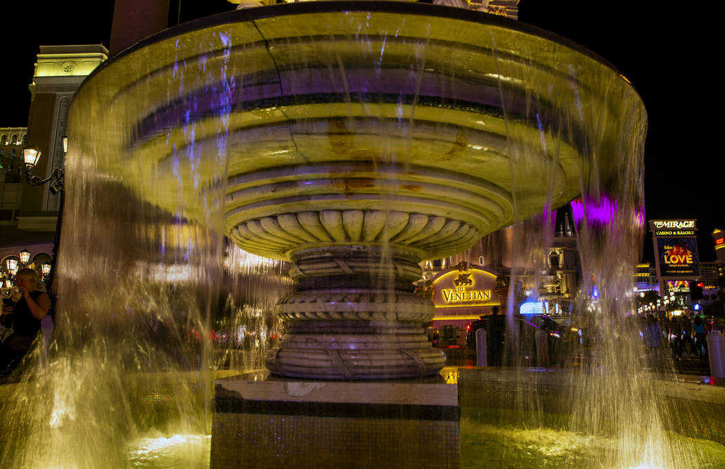 A water fountain is seen at The Venetian, Wednesday, April 24, 2019, in Las Vegas. (L.E. Baskow ...