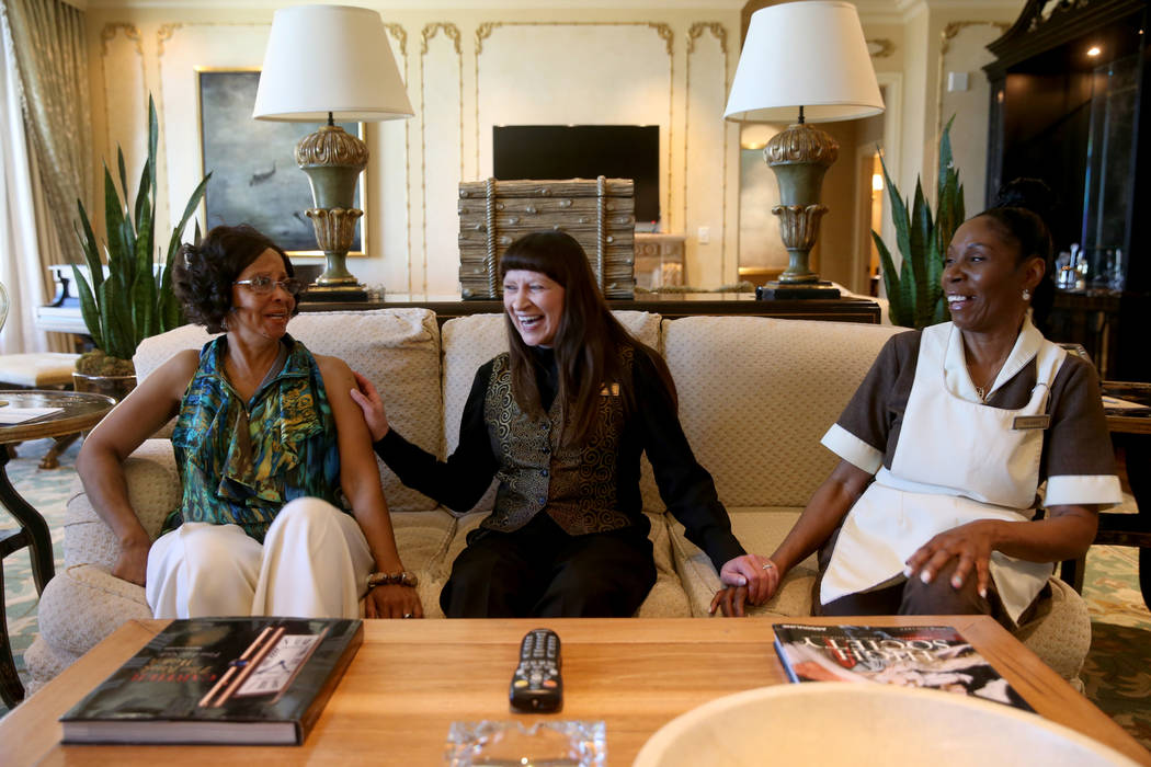 Founding Venetian employees, from left, Shelley Adcock, master cook, Rosella Jensen, slot guest ...