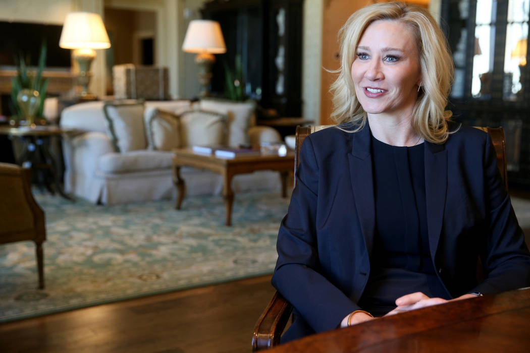 Chandra Allison, senior vice president of sales at The Venetian, talks to a reporter during an ...