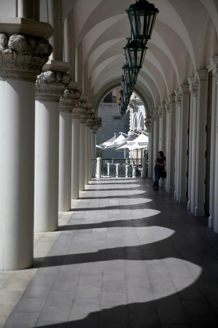 The main entrance at The Venetian on the Strip in Las Vegas Thursday, April 25, 2019. The Venet ...