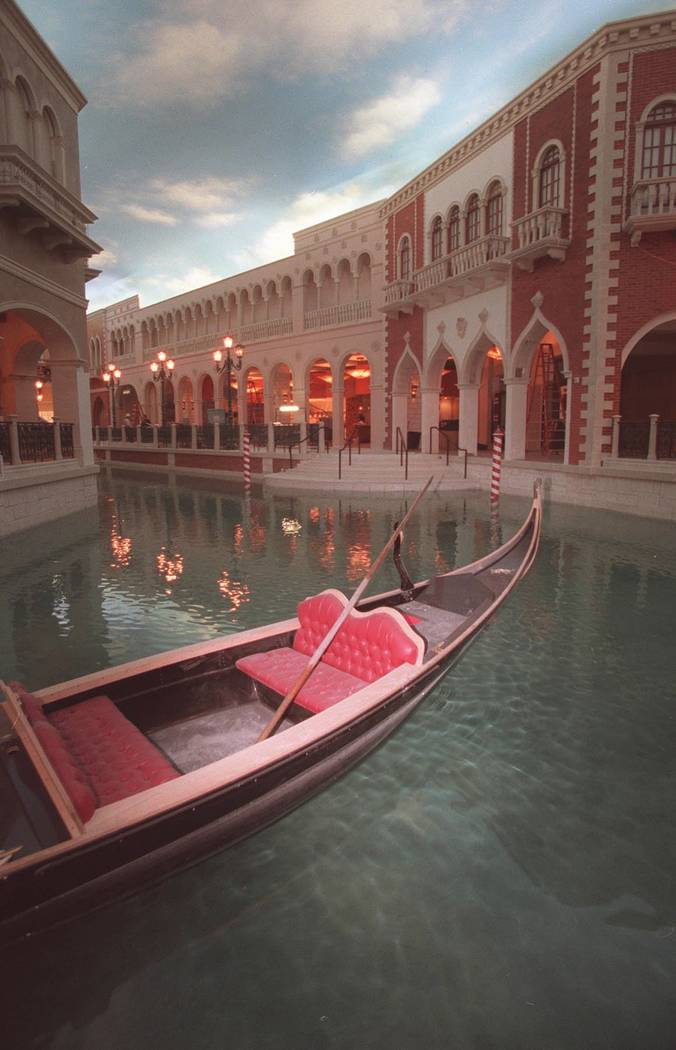 A gondola rests near the Grand Canal Shoppes at the Venetian Hotel on the day of the soft openi ...