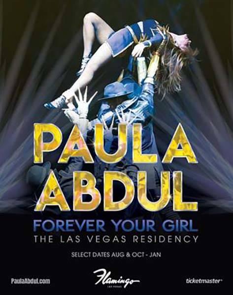 """Una imagen promocional de la próxima residencia """"Paula Abdul: Forever Your Girl"""" en Flamingo L ..."""