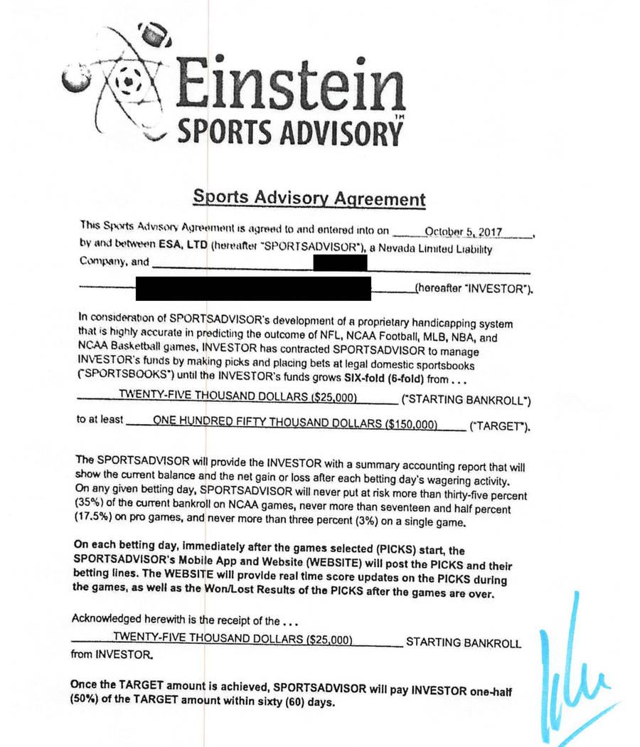 Un contrato de Einstein firmado por un cliente que invirtió 25 mil dólares en 2017. La cuenta ...