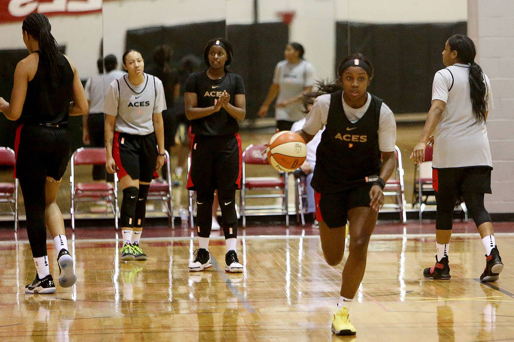 Jackie Young during the first training camp of the season at Cox Pavilion in Las Vegas, Sunday, ...