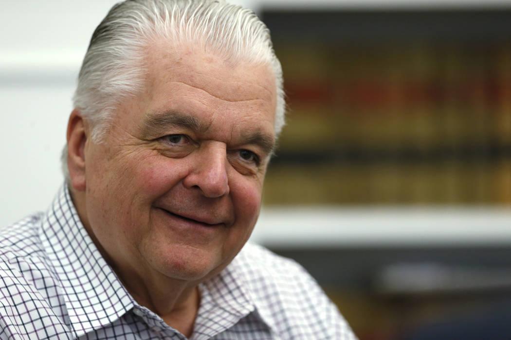 El gobernador de Nevada, Steve Sisolak, habla de sus primeros 100 días en el cargo, en el Capi ...