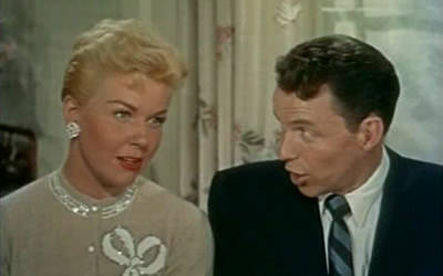 "Doris Day and Frank Sinatra co-star in the 1955 musical soap opera ""Young at Heart."""