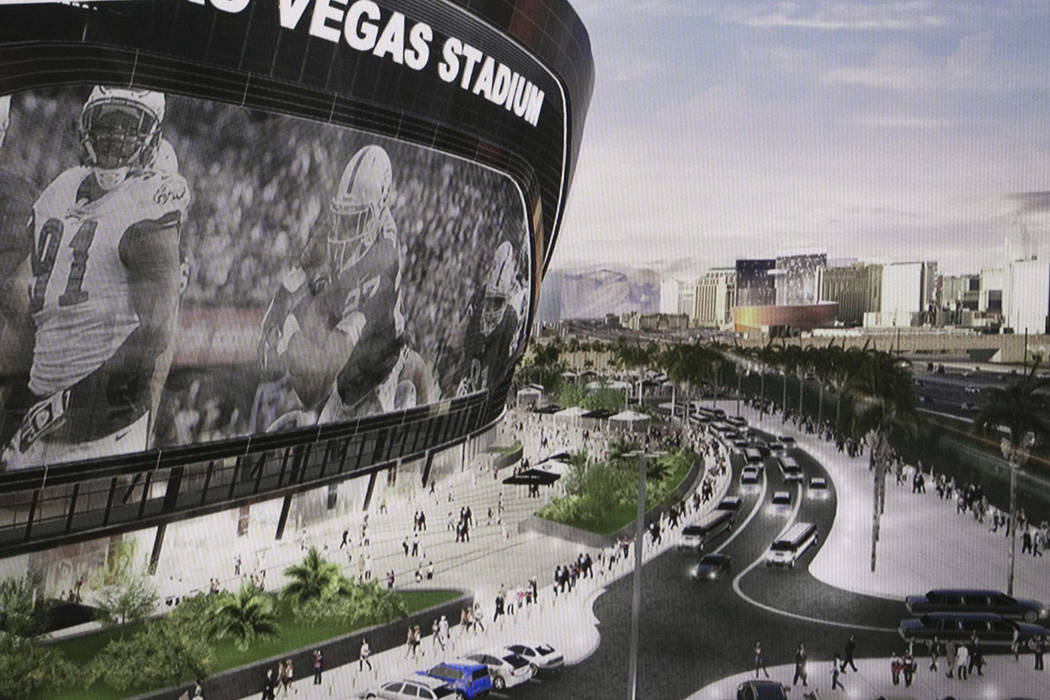 Una representación del nuevo estadio de los Raiders durante una presentación sobre el proyect ...
