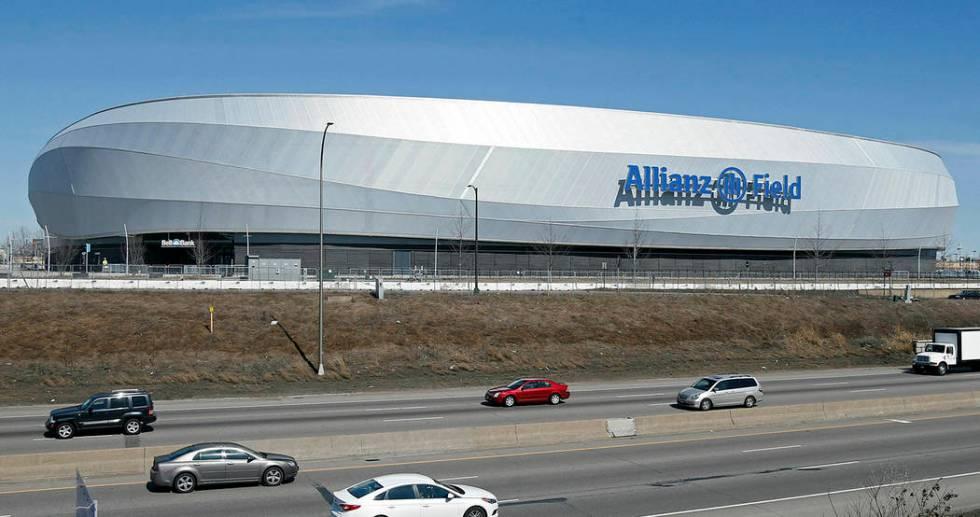 En esta foto del 26 de marzo de 2019, se muestra el nuevo estadio de los Minnesota United FC Lo ...