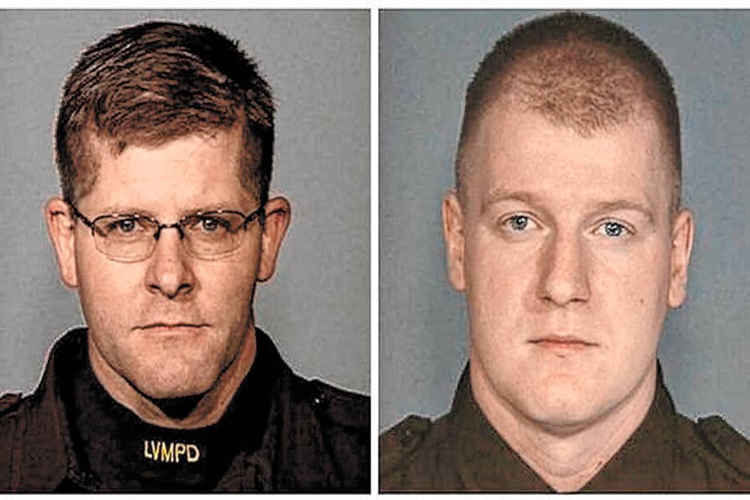 Los oficiales de policía de Las Vegas Alyn Beck, izquierda, e Igor Soldo fueron asesinados dur ...