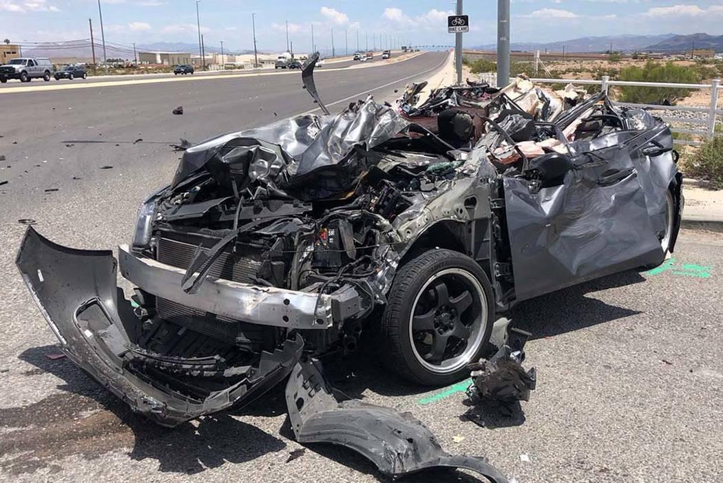 La Nevada Highway Patrol investiga un choque que involucra un semirremolque y un Honda Civic en ...