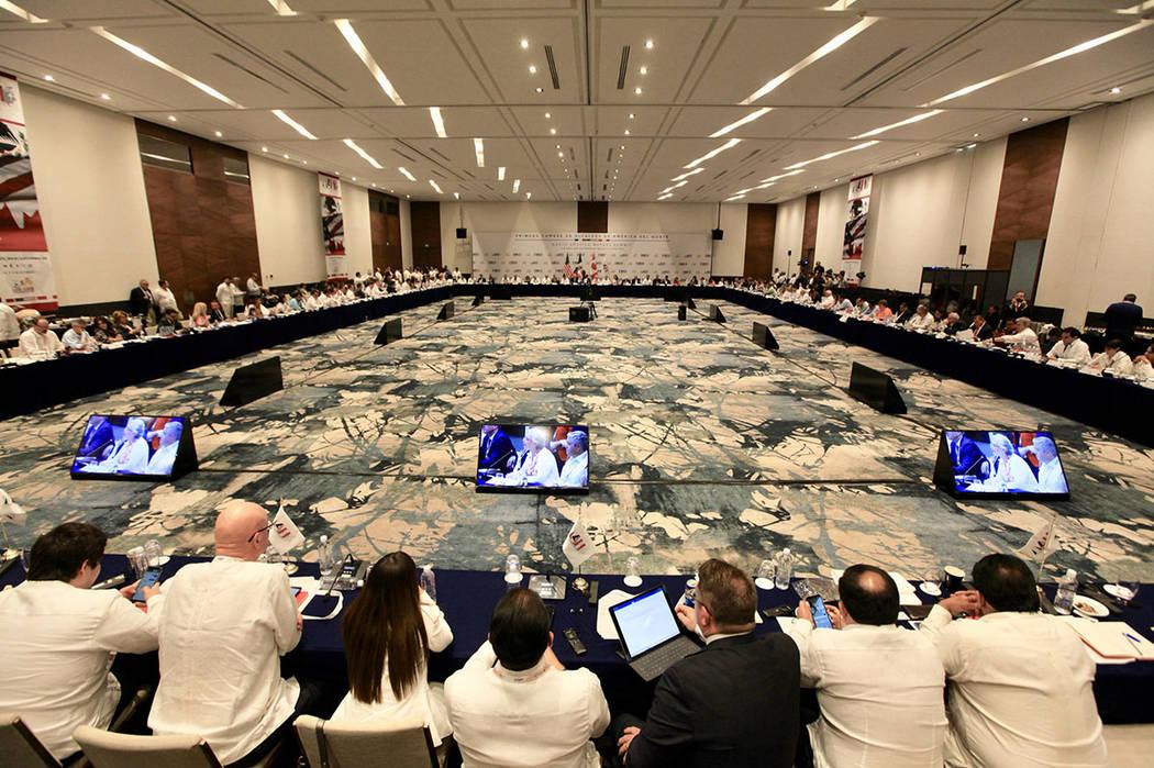Los Cabos, 7 Jun 2019 (Notimex-Javier Lira).- Aspectos de la sede de la Cumbre de Alcaldes de A ...