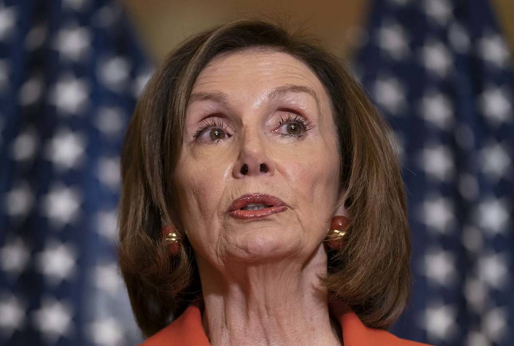 In a June 21, 2019, photo, House Speaker Nancy Pelosi of Calif., speaks with reporters at the C ...