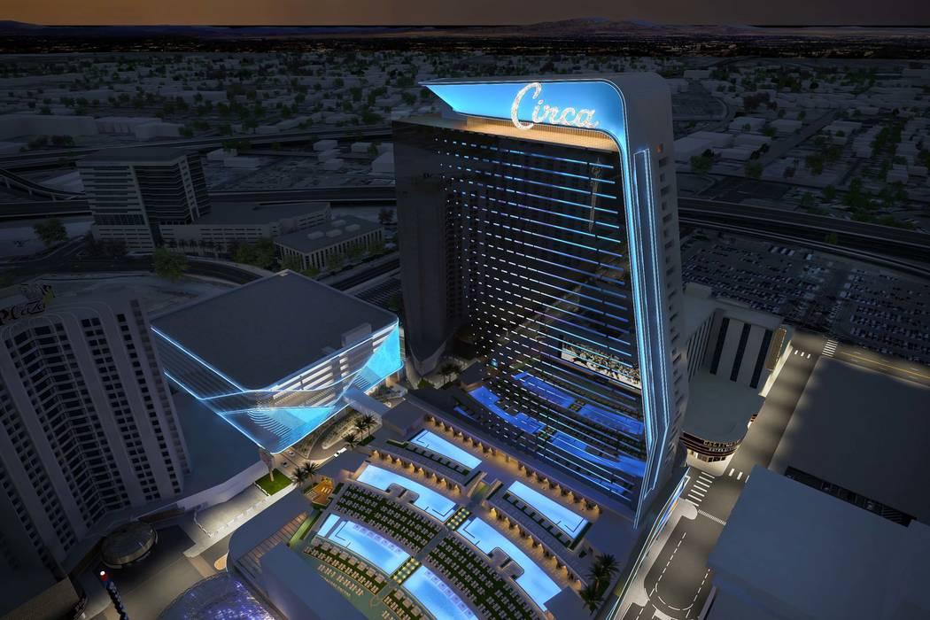 Representación de Circa, un resort casino-hotel que es construido en el centro de Las Vegas po ...