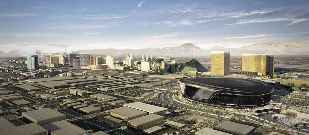Representación del Raiders Stadium propuesto en Las Vegas. (Raiders)