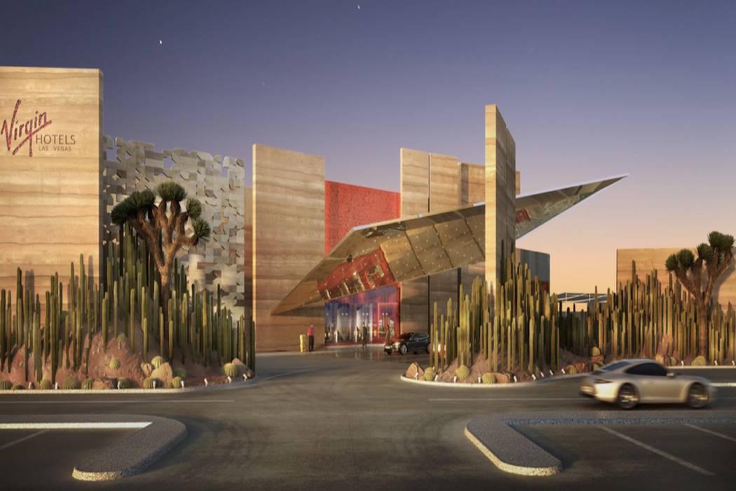 Representación de la entrada principal y de la entrada cubierta del Virgin Hotel Las Vegas. (V ...