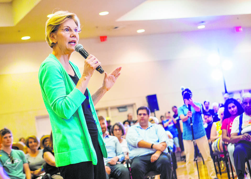 La precandidata presidencial demócrata, la senadora Elizabeth Warren, demócrata de Massachuse ...