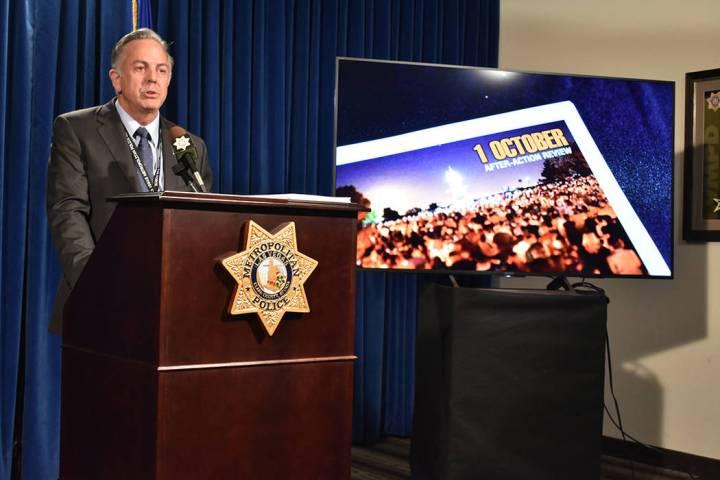 Durante una conferencia de prensa, el alguacil Joe Lombardo informó que un total de 93 recomen ...