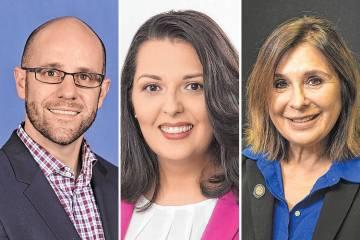 Brian Knudsen, desde la izquierda, Olivia Díaz y Victoria Seaman (Las Vegas Review-Journal / File)