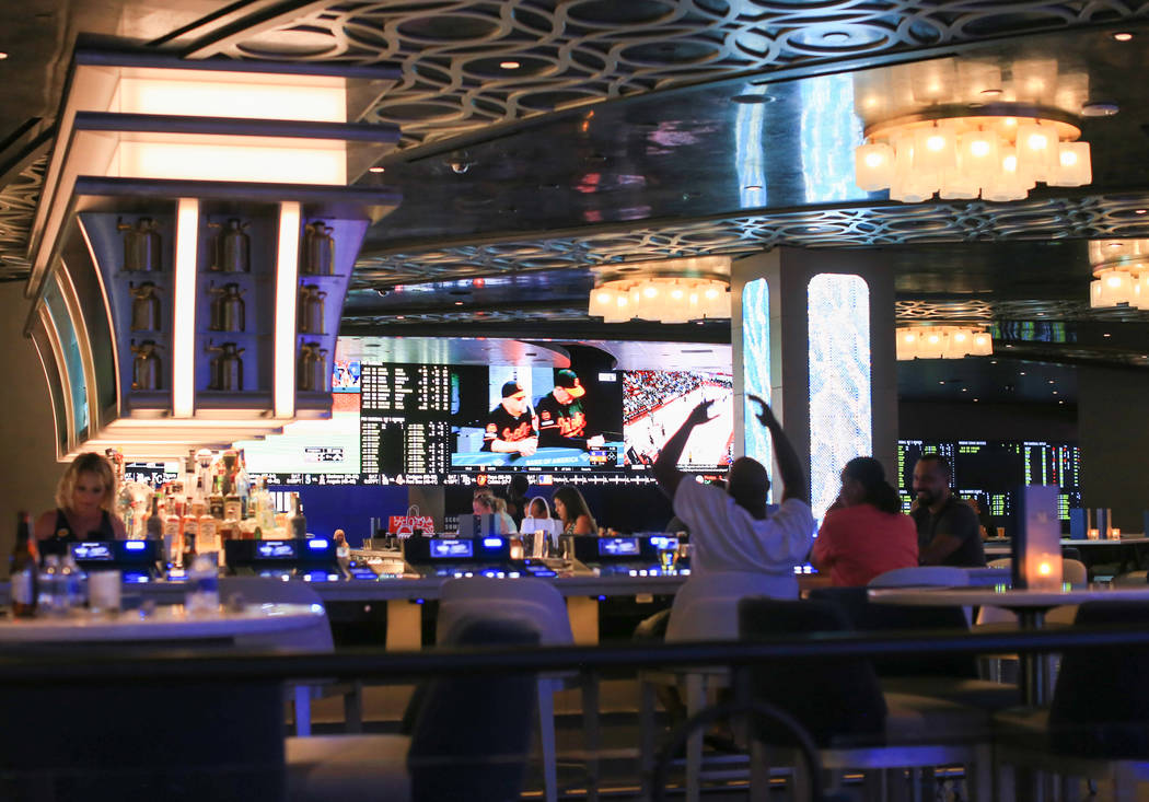 A newly renovated sports book can be seen from BLVD & MAIN Taphouse at The STRAT hotel casino i ...