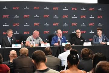 Representantes de UFC y Aurora Cannabis Inc. ofrecieron una conferencia de prensa para anunciar ...